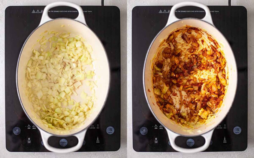Two image collage of how to prepare the soup: onions, garlic and Thai red curry paste.