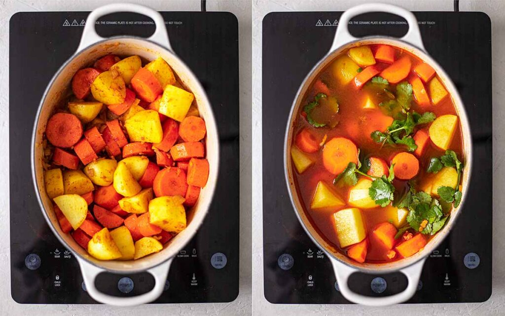 Two image collage of how to prepare the soup: adding vegetables, stock and coriander.