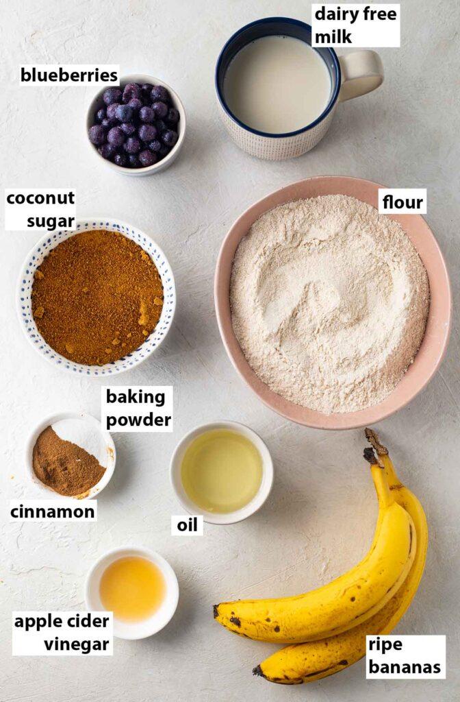 Flatlay of healthy, vegan and sugar free ingredients for vegan banana bread.