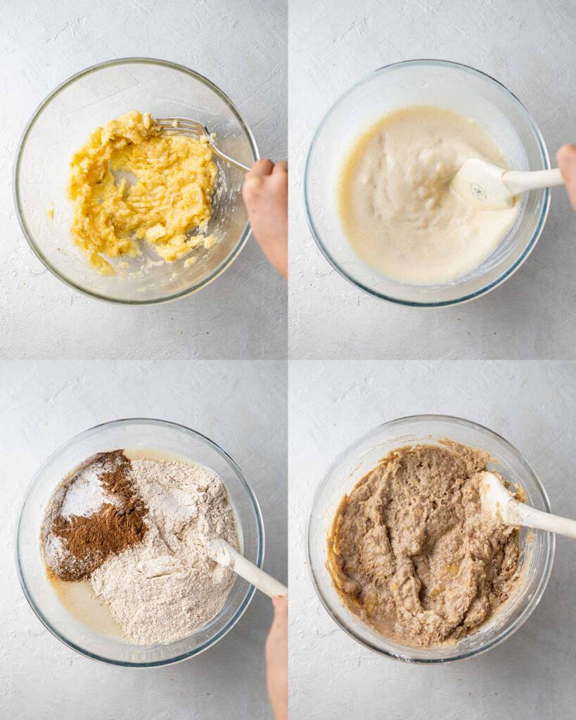 Four image collage of thick batter in bowl for banana bread.