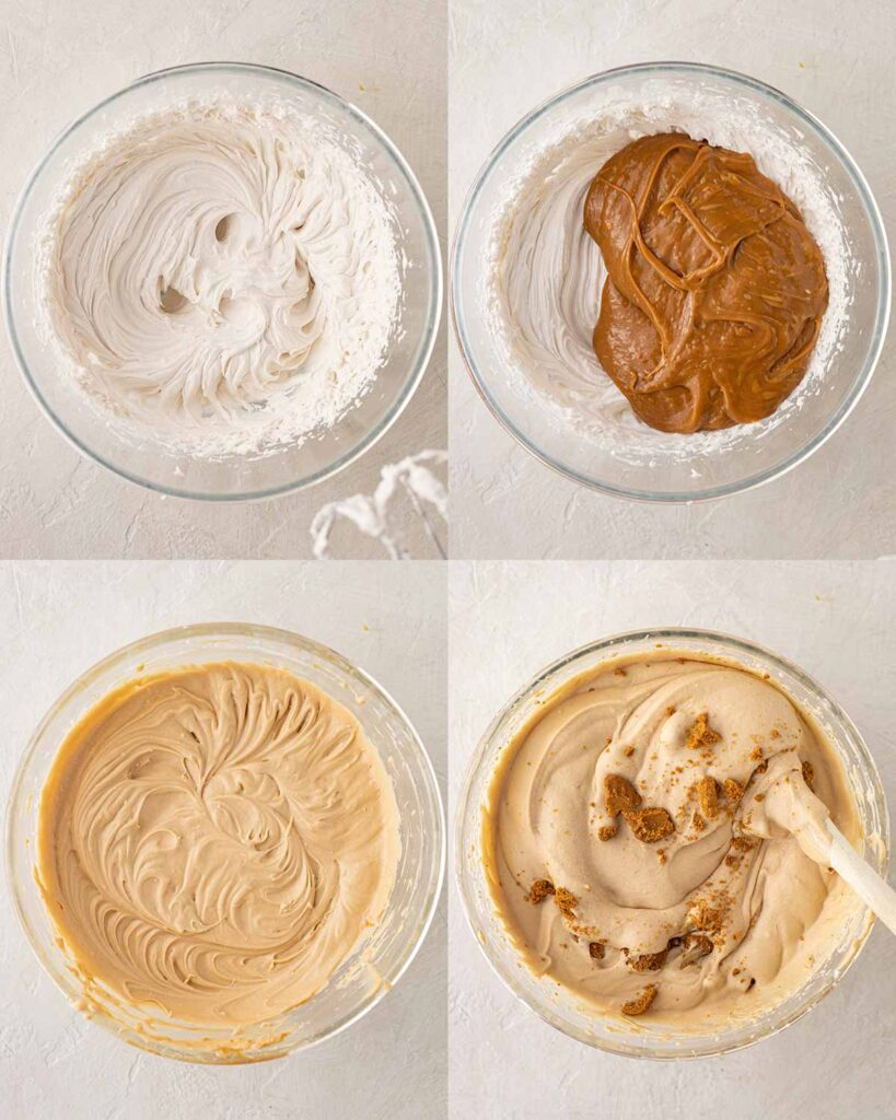 Four image collage of how to make vegan ice cream with no machine.