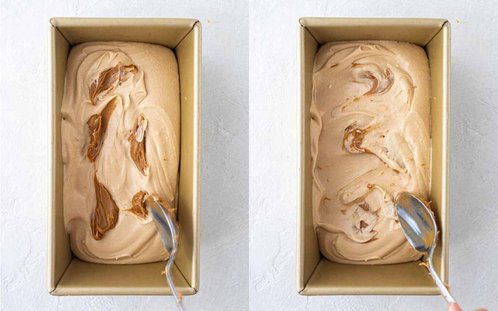 Two image collage of spooning the thick ice cream into a loaf pan.