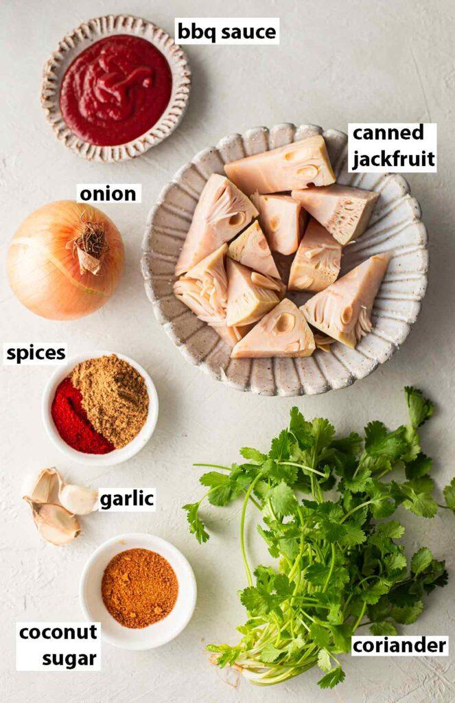 Flatlay of ingredients for bbq jackfruit (vegan pulled pork substitute).