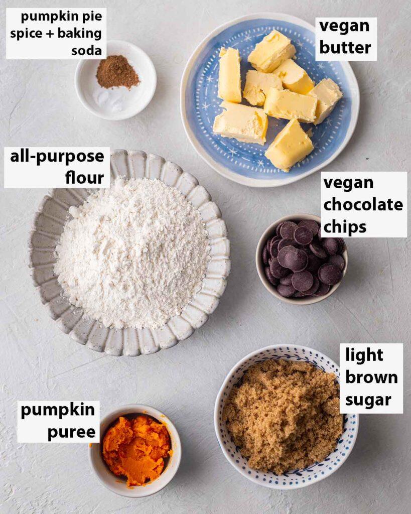 Flatlay of ingredients for vegan cookies.