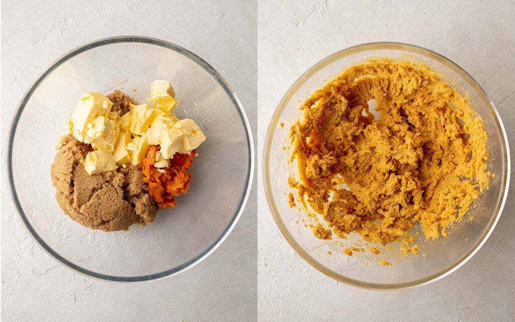 Two image collage of butter, sugar and pumpkin in mixing bowl.