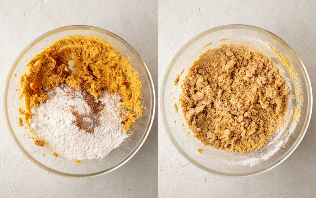 Two image collage of dry ingredients added to mixing bowl for cookies.