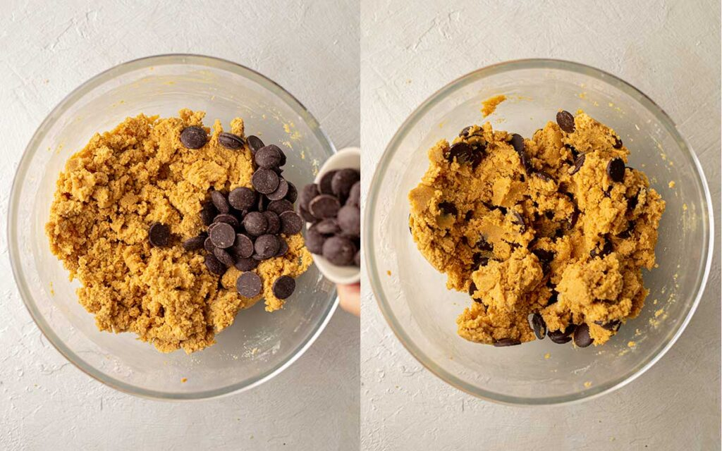 Two image collage of chocolate chips in pumpkin cookie dough.