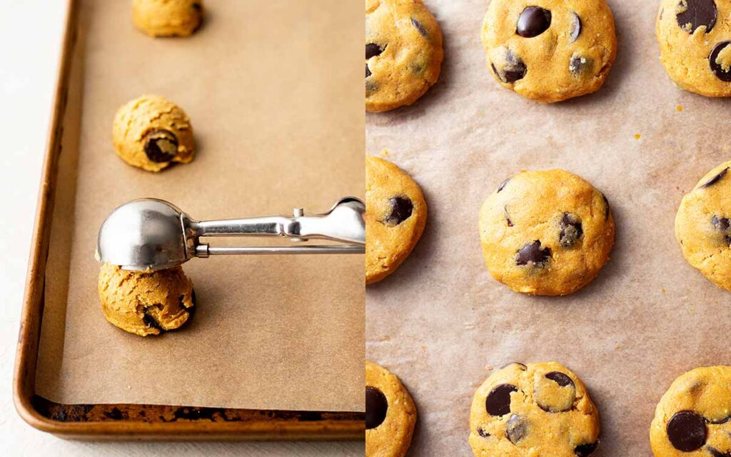 Two image collage of ice cream scoop with cookie dough and flattened cookies on tray.