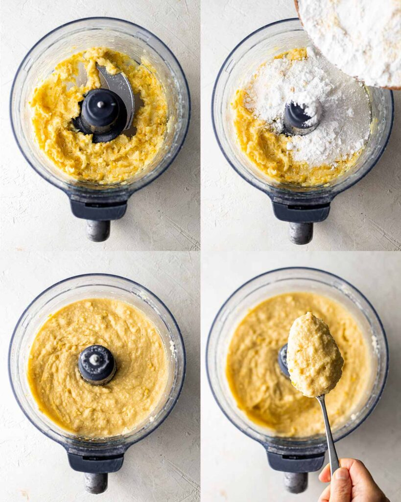 Four image easy process showing how to make vegan lemon cake in food processor.
