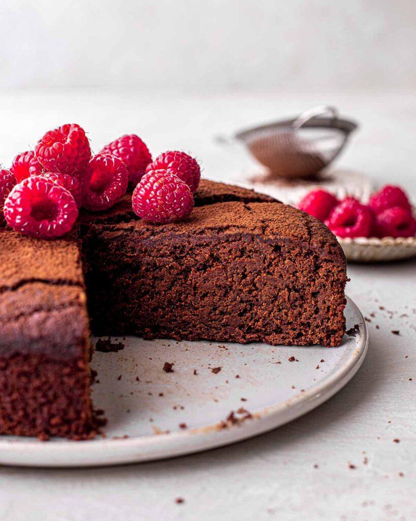 Close up of fudge like texture of chocolate cake.