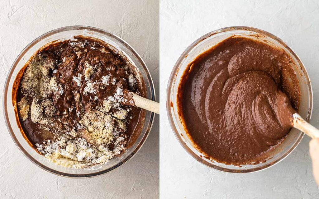 Two image collage of thick batter for chocolate cake.