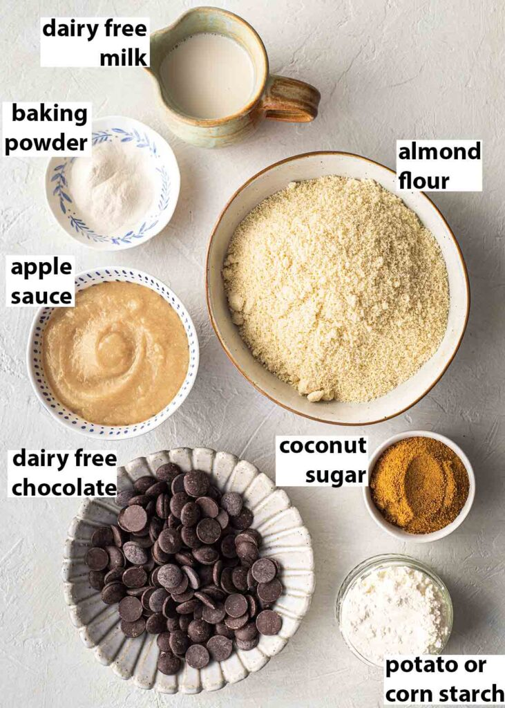 Flatlay of vegan gluten free ingredients for the chocolate cake.