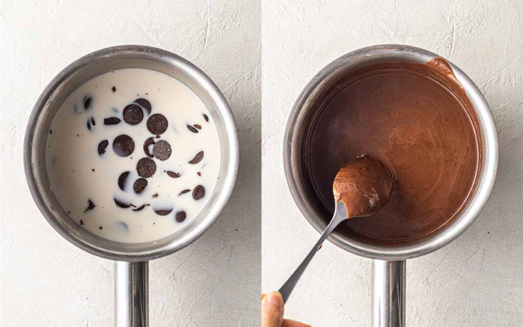 Two image collage of how to melt dairy free chocolate and milk in small saucepan.