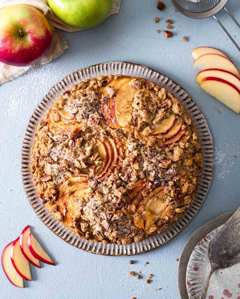 Overhead image of vegan apple crumb cake.