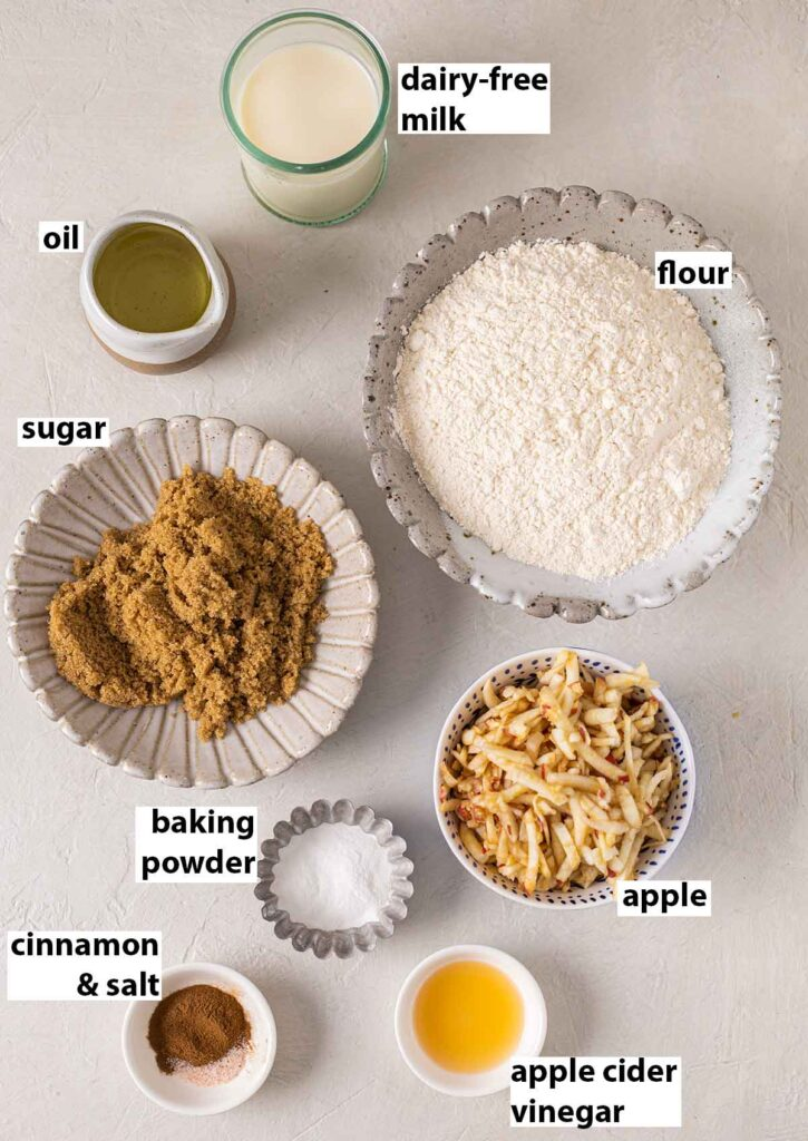 Flatlay of ingredients for the vegan apple bread.