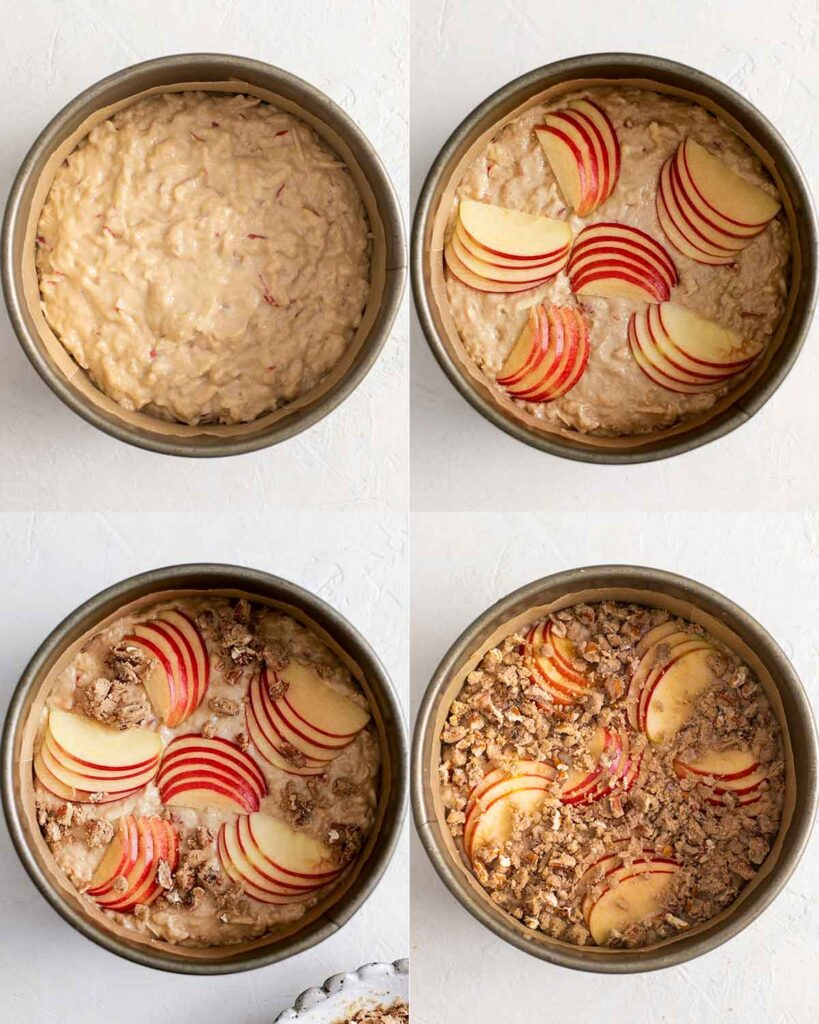 Four image collage of decorating the unbaked vegan apple cake with apple slices and crumb topping.