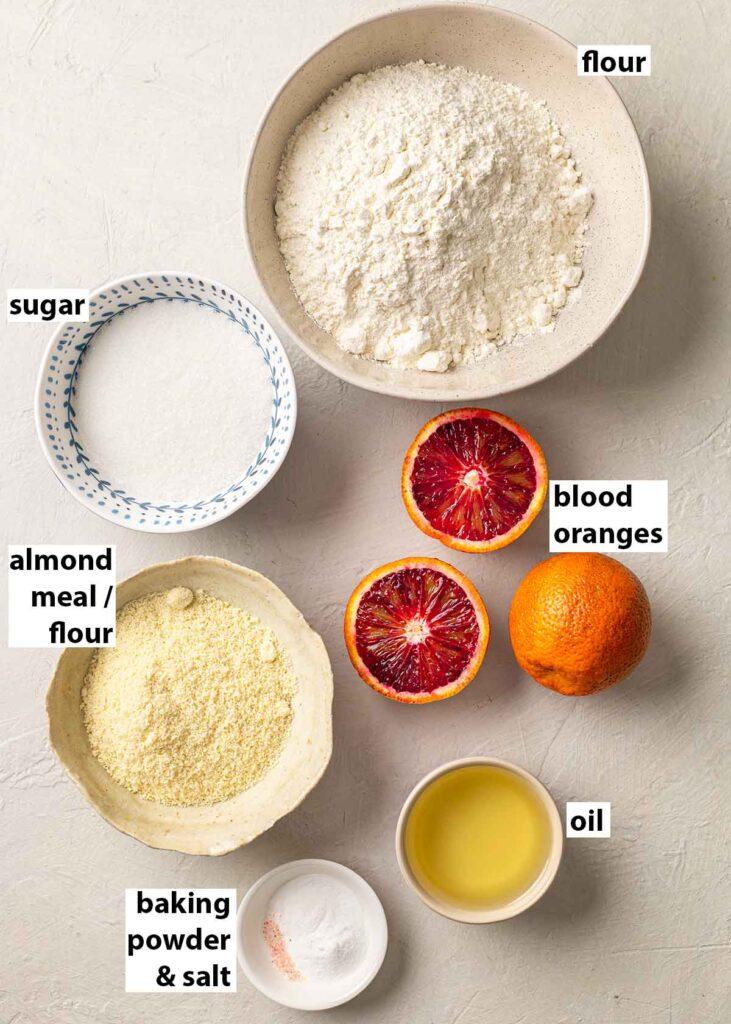 Flatylay of ingredients for blood orange cake.