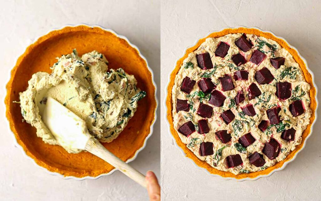 Two image collage of how to assemble the thick quiche filling in pumpkin crust.