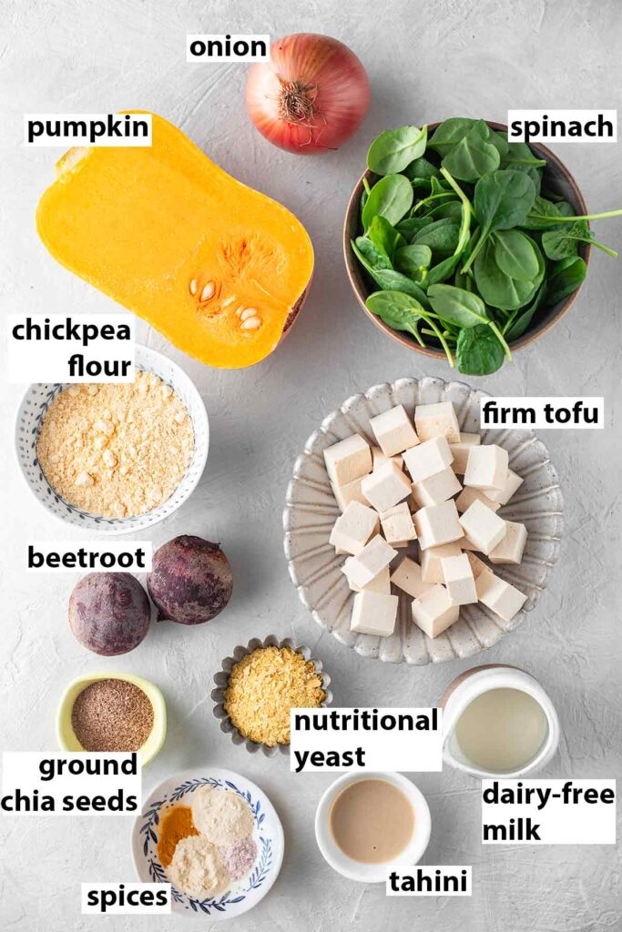 Flatlay of ingredients for quiche.