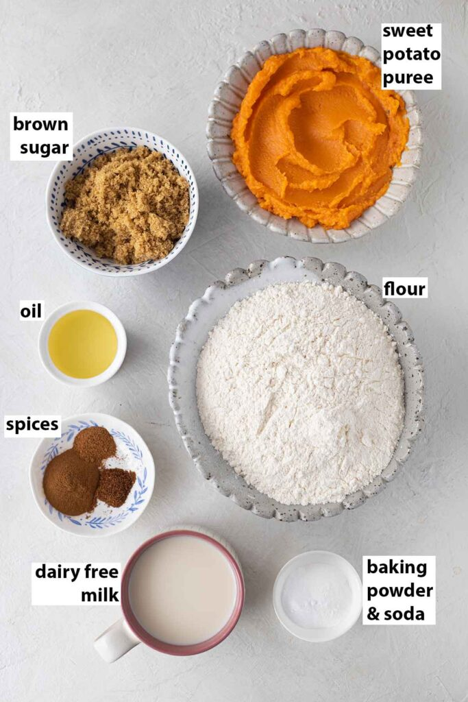 Flatlay of ingredients for the sweet potato cake.