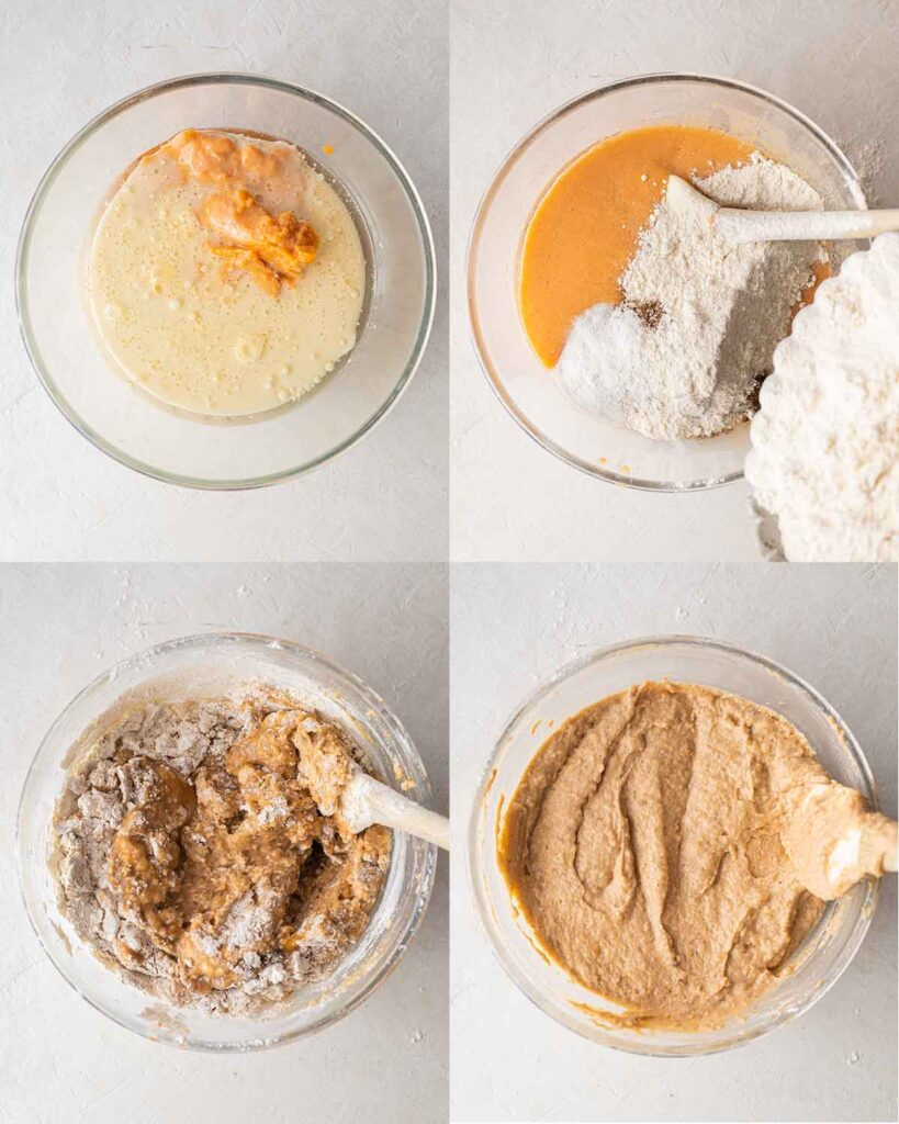 Four image collage of how to prepare the sweet potato cake batter using just one bowl.