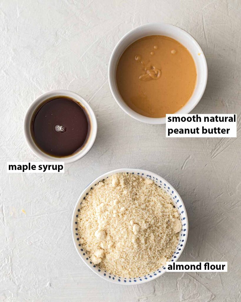 Flatlay of 3 ingredients for cookies.