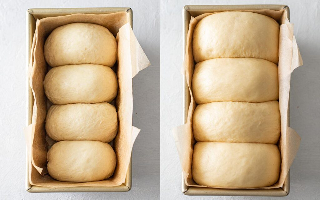 Second rise of the dough in a loaf tin for the vegan brioche french bread