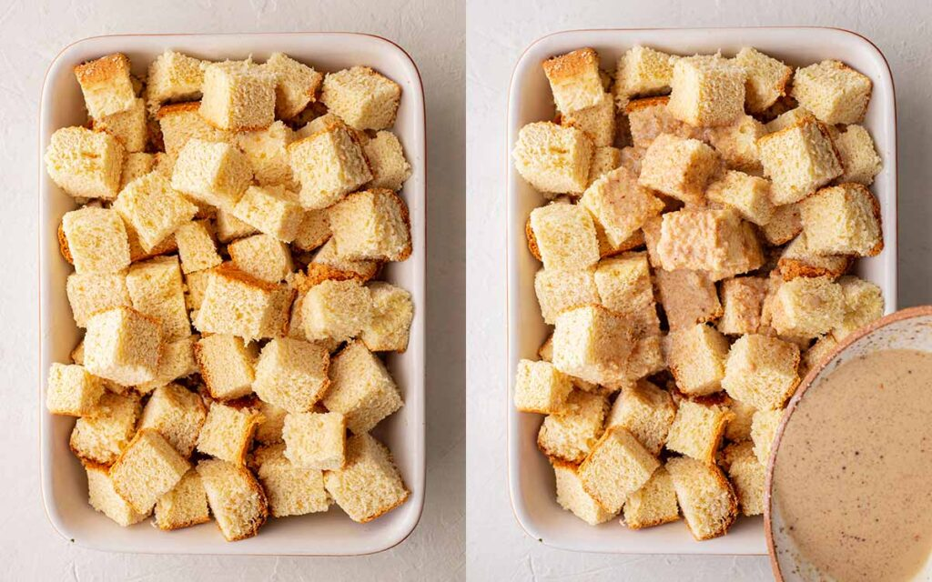 Two image collage of french toast cubes in casserole dish. One image has custard liquid being poured on top.