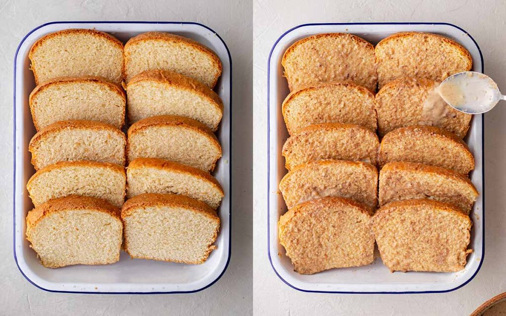 Two image collage of 10 slices of bread neatly arranged in a casserole dish. One image has a spoon carefully pouring custard liquid on top.
