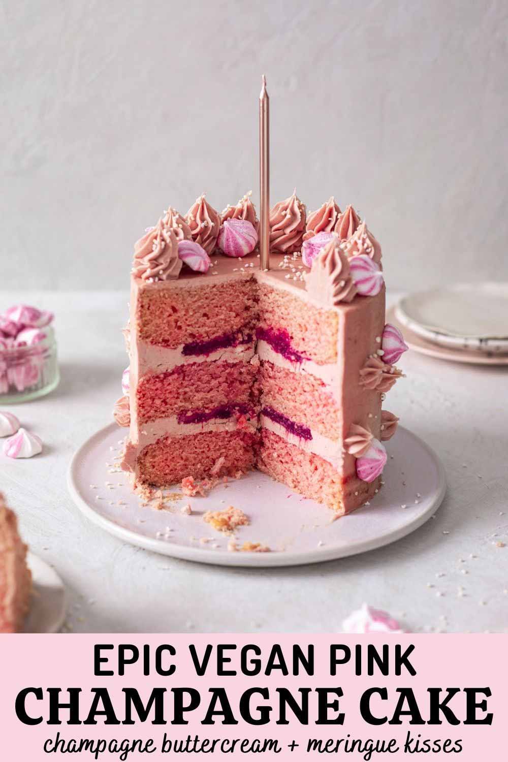 Vegan Pink Champagne Cake (with champagne buttercream)
