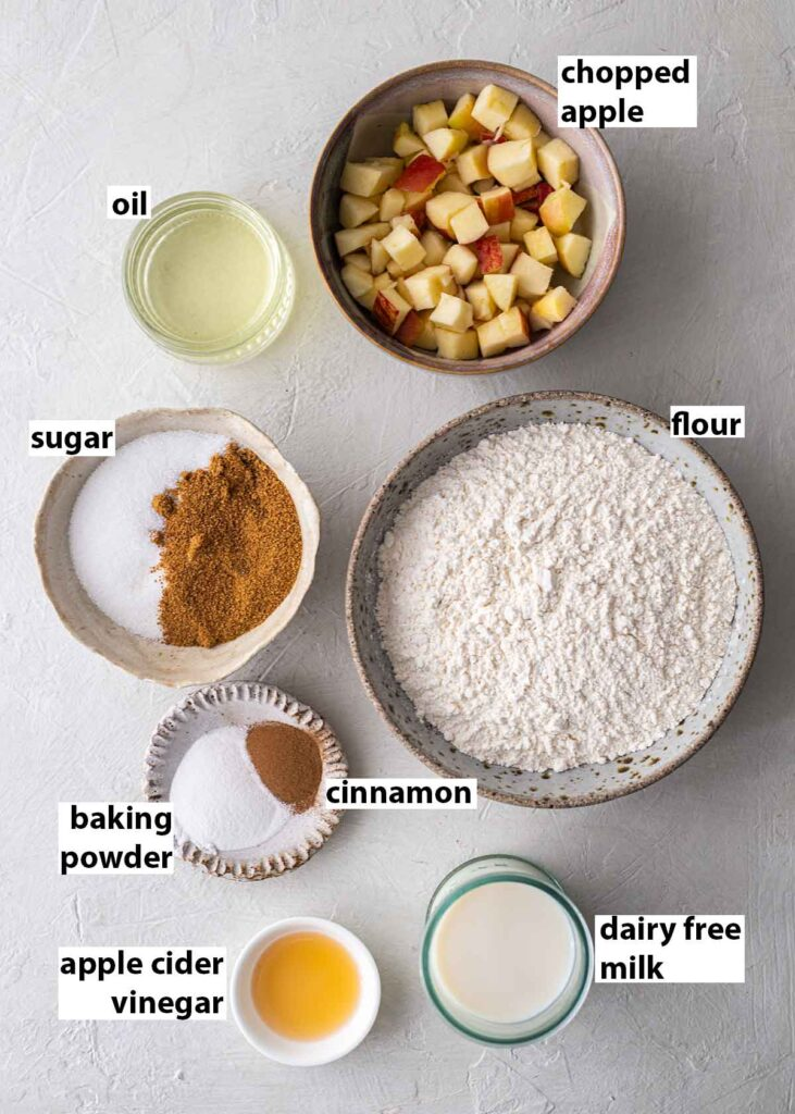 Flatlay of ingredients for apple muffins.