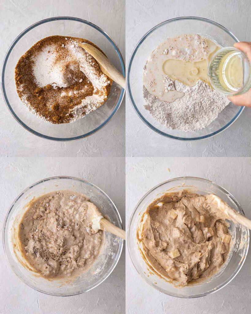 Four image collage showing how to make apple muffin batter in glass bowl.