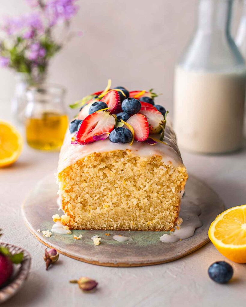 Front image of lemon cake showing fluffy texture.