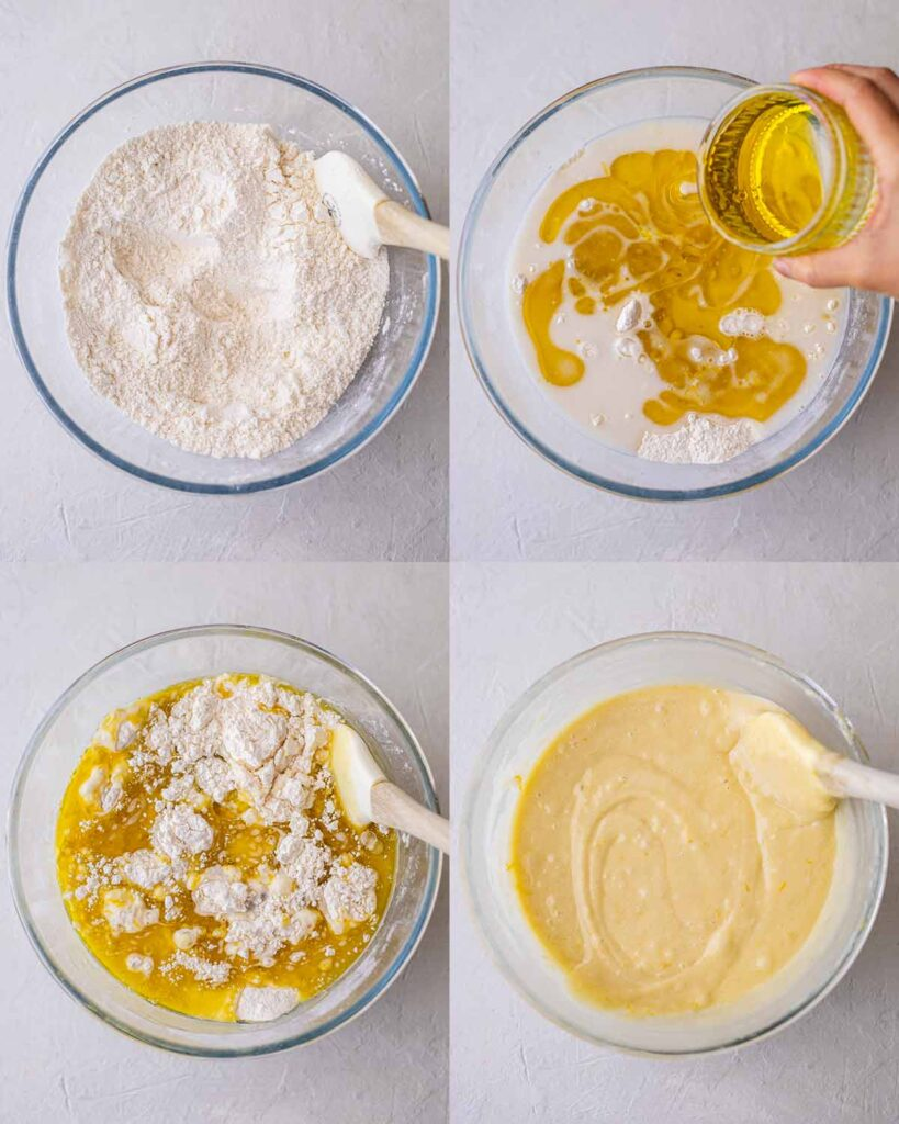 Four image collage of lemon cake batter in bowl including pouring the olive oil in the cake batter.