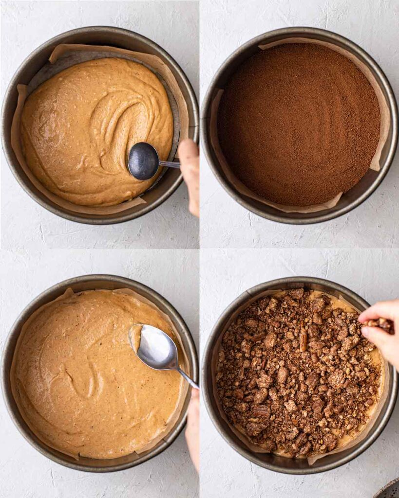 Four image collage of how to assemble the pumpkin cake including pumpkin cake batter layer, cinnamon sugar layer, pumpkin cake again then pecan crumb topping.