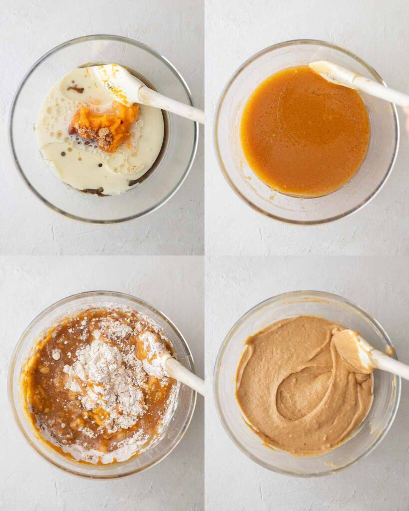 Four image collage showing how to prepare batter for the pumpkin cake.