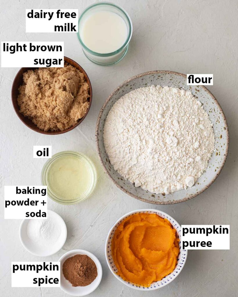 Flatlay of ingredients for the pumpkin cake.