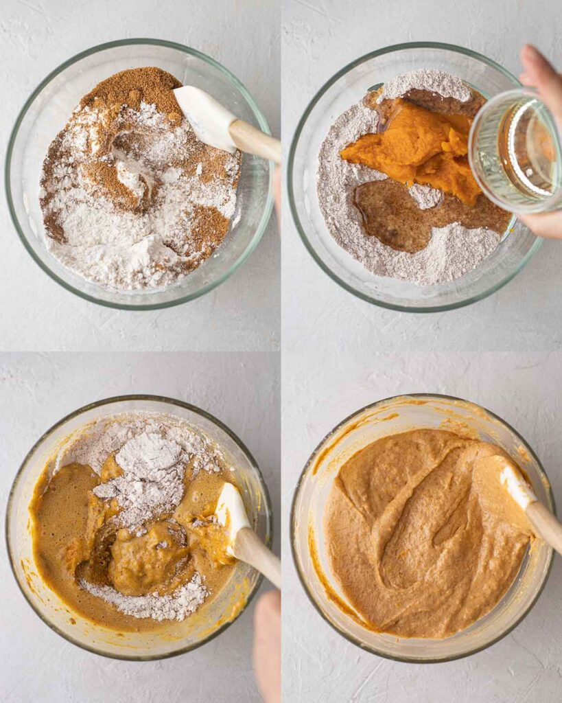 Four image collage of how to make batter for donuts.